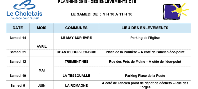 Planning 2018 des enlèvements des Déchets d'Equipements Electriques et Electroniques