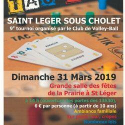 Tournoi de TAC-TIK organisé par le club de Volley-Ball             le DIMANCHE 31 MARS 2019