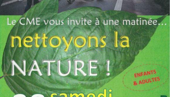 Nettoyons la nature! RDV samedi 28 septembre à 9h parking des salles de sport!