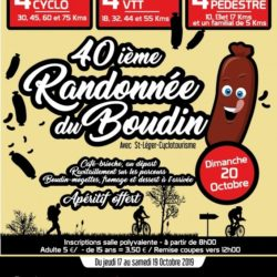 L'ASSOCIATION ST LEGER CYCLOTOURISME ORGANISE SA TRADITIONNELLE RANDONNÉE DU BOUDIN LE 20 OCTOBRE 2019