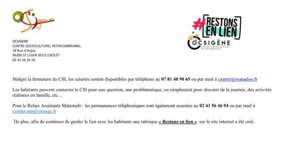 CENTRE SOCIOCULTUREL INTERCOMMUNAL-«RESTONS EN LIEN!»