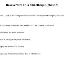 RÉOUVERTURE DE LA BIBLIOTHEQUE – phase 3