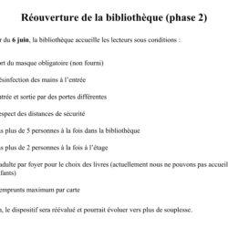 RÉOUVERTURE DE LA BIBLIOTHEQUE – phase 2