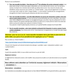 Inscription restaurant scolaire 2020-2021
