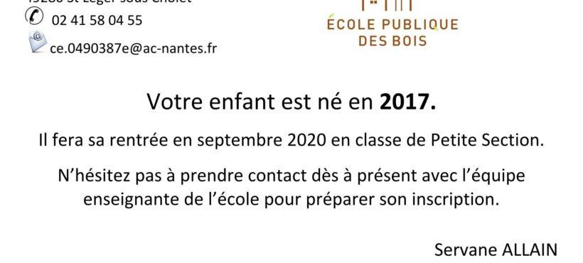 Inscriptions Scolaires 2020-  Petite Section École Publique des Bois
