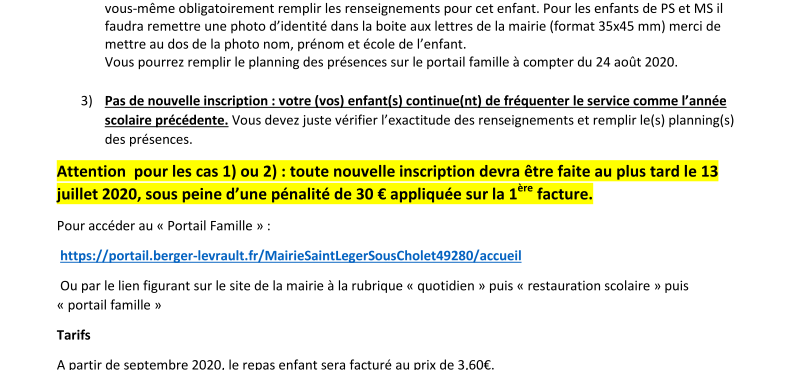 Inscription restaurant scolaire 2020-2021