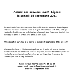 Accueil des nouveaux St Légeois : samedi 25 septembre 2021