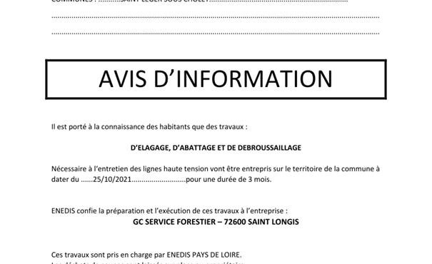 ENEDIS : TRAVAUX D'ÉLAGAGE, D'ABATTAGE ET DÉBROUSSAILLAGE à partir du 25 octobre 2021